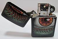 Зажигалка ZIPPO (28668) чёрная, матовая, рисунок - глаз с ресницами когтями