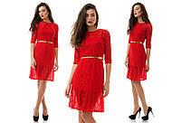 Красное гипюровое платье на подкладке с пояском. Арт-1148/16