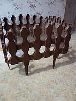 Забор для газона пластиковый Штакетник коричневый 4 секции Гемопласт GP-031