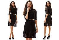Черное гипюровое платье на подкладке с пояском. Арт-1148/16