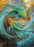"""Набор алмазной вышивки (мозаики) """"Символ гармонии и любви-золотые рыбки"""""""