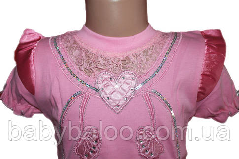 "Качественная футболка с атласом ""Сердечки""(от 5 до 8 лет), фото 2"