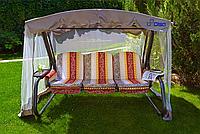 """Качели садовые раскладные """"Мастак Премиум"""" с661 с москитной сеткой, подушками, светодиодный фонарь"""