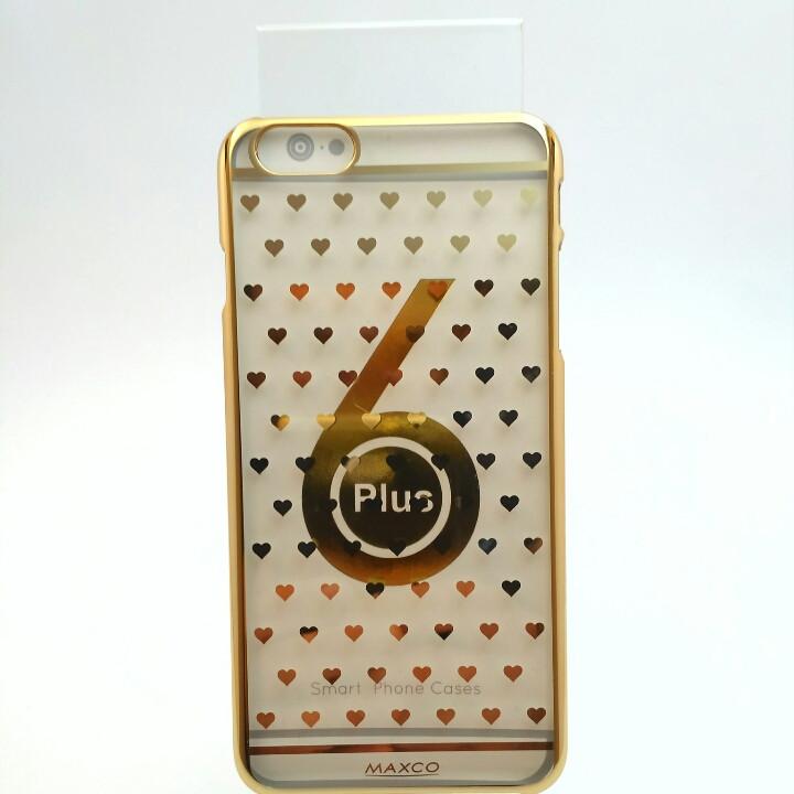 Чехол Maxco на iPhone 6 Plus с золотыми сердечками.