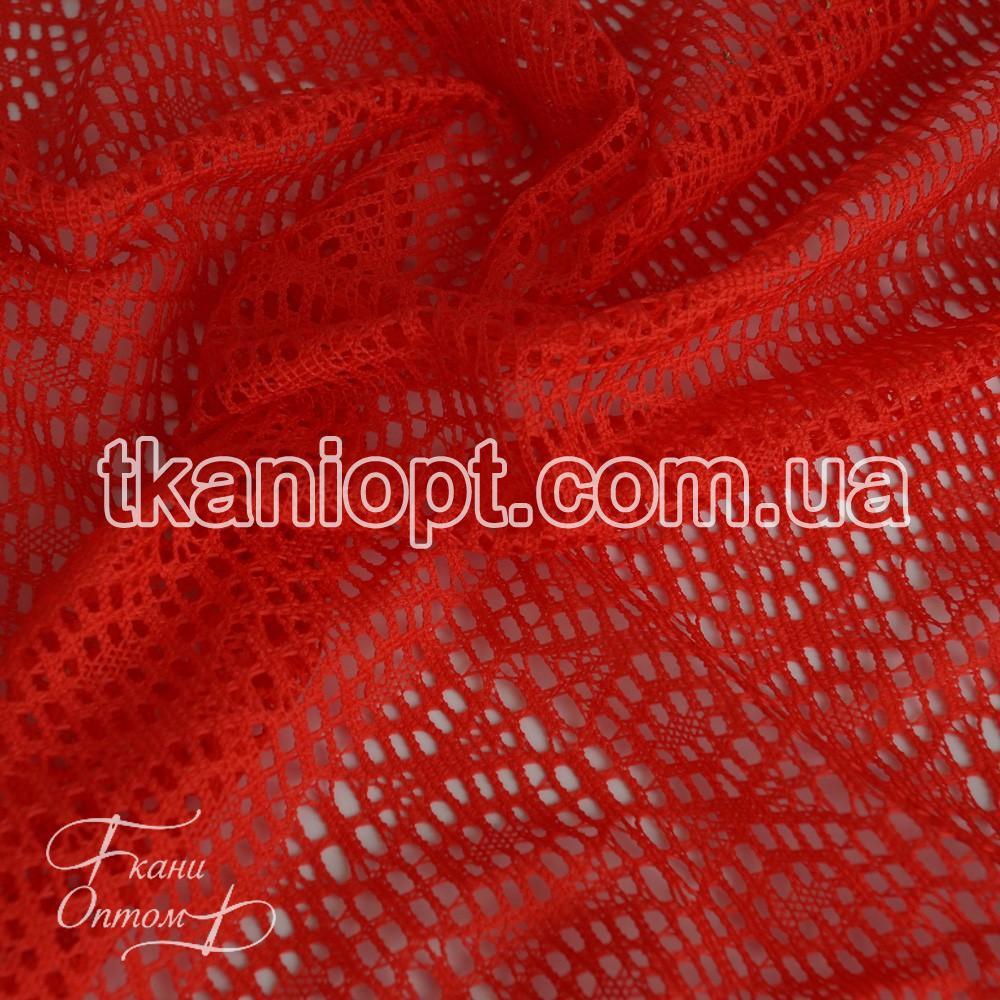 Ткань Ажурная сетка (красный)