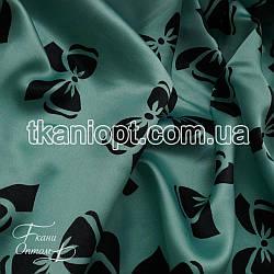 Ткань Атлас бантики мятно-черные (50-70 мм)