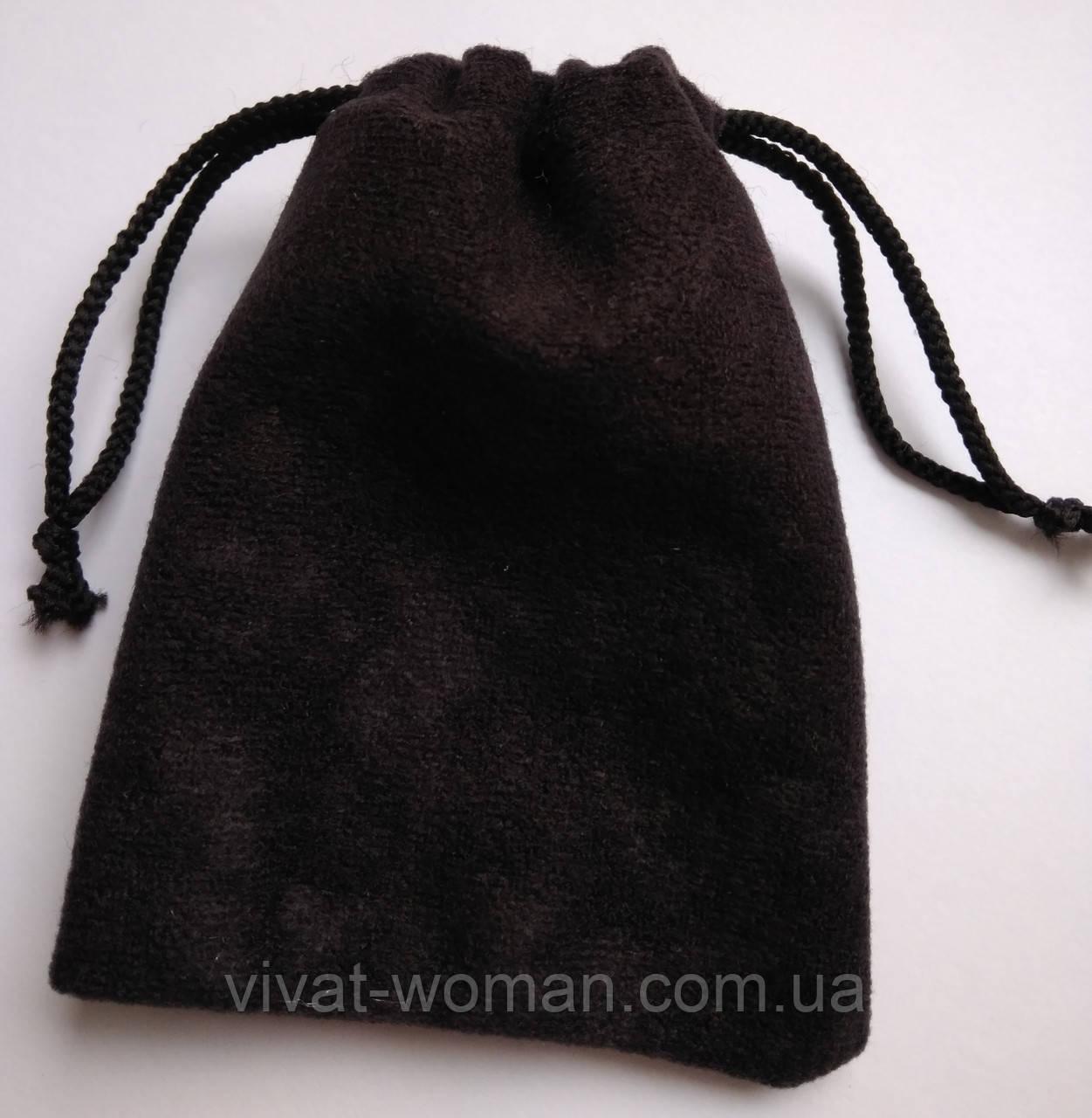 Мішечки ювелірні, оксамит матовий чорний 7х9 см, 1шт. Виробництво Україна