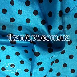Ткань Атлас горох(бирюзо-черный)  25мм