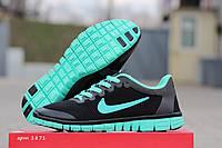 Женские кроссовки Nike Free Run 3.0 🔥  (Найк Фри Ран) Черные с мятой
