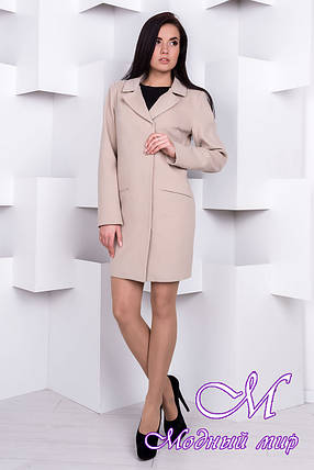 Женское бежевое кашемировое пальто (р. S, M, L) арт. Ками Турция элит 9756, фото 2