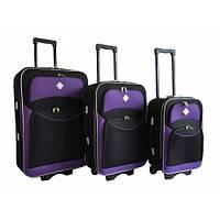 Чемодан дорожный Bonro Style набор 3 штуки( черно-фиолетовый)