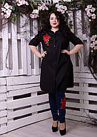 Платье-рубашка больших размеров Кантри роза черная