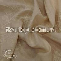 Ткань Батист вышивка (бежевый)