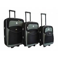 Чемодан на колесах Bonro Style набор 3 штуки(черно-серый)