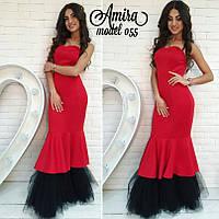 Модное женское платье из дайвинга с фатином