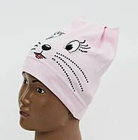 """Хлопковая шапочка """"Котик"""" на девочку"""