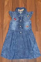 Летнее джинсовое платьице для девочек.Размеры 98-128 см,Фирма GRACE.Венгрия
