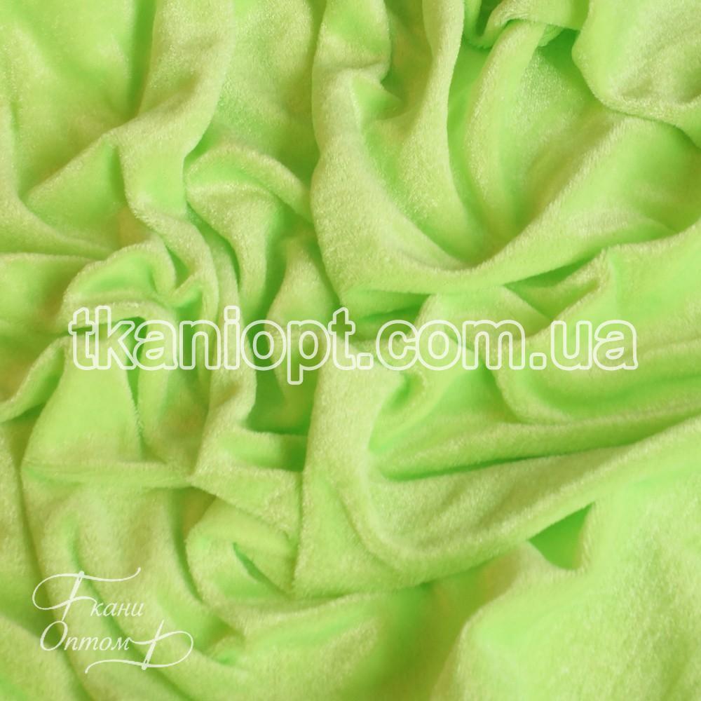 Ткань Велюр стрейч (лимонно-салатовый неон)