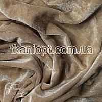 Ткань Велюр стрейч (темно-бежевый)
