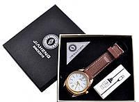 Наручные кварцевые часы с USB зажигалкой №4829-3, два модных девайса в одном, часы золотистого цвета, ремешок