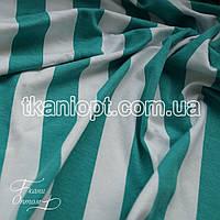 Ткань Вискоза полоска мятно-белый  (25 мм)