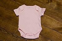 Боди с коротким рукавом для новорожденной девочки розовый Сердечки