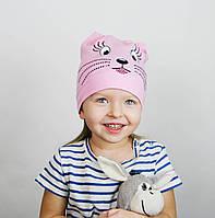 """Розовая шапочка """"Котик"""" на девочек"""
