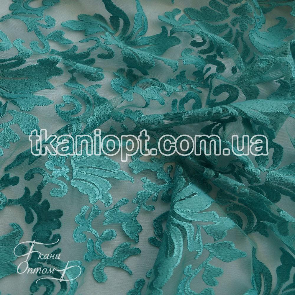 Ткань Гипюр вышивка (мята)