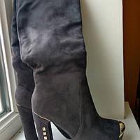 Замшевые сапоги женские серые на платформе 39р, стелька 25.5 см.