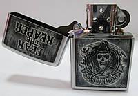 Зажигалка ZIPPO (28502 ) серая, матовая, рисунок -  смерть, фото 1