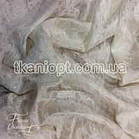 Ткань Гипюр на атласе ( крем )