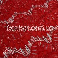 Ткань Гипюр реснички ( красный )