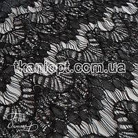 Ткань Гипюр реснички ( черный )