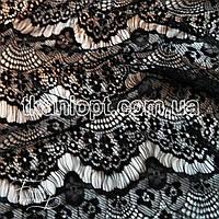 Ткань Гипюр реснички тонкие (черный)