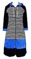Велюровый женский халат с капюшоном 44р