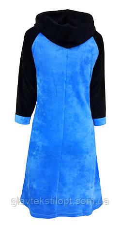 Велюровый женский халат с капюшоном 44р, фото 2