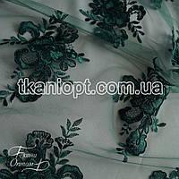 Ткань Гипюр франция (изумруд)