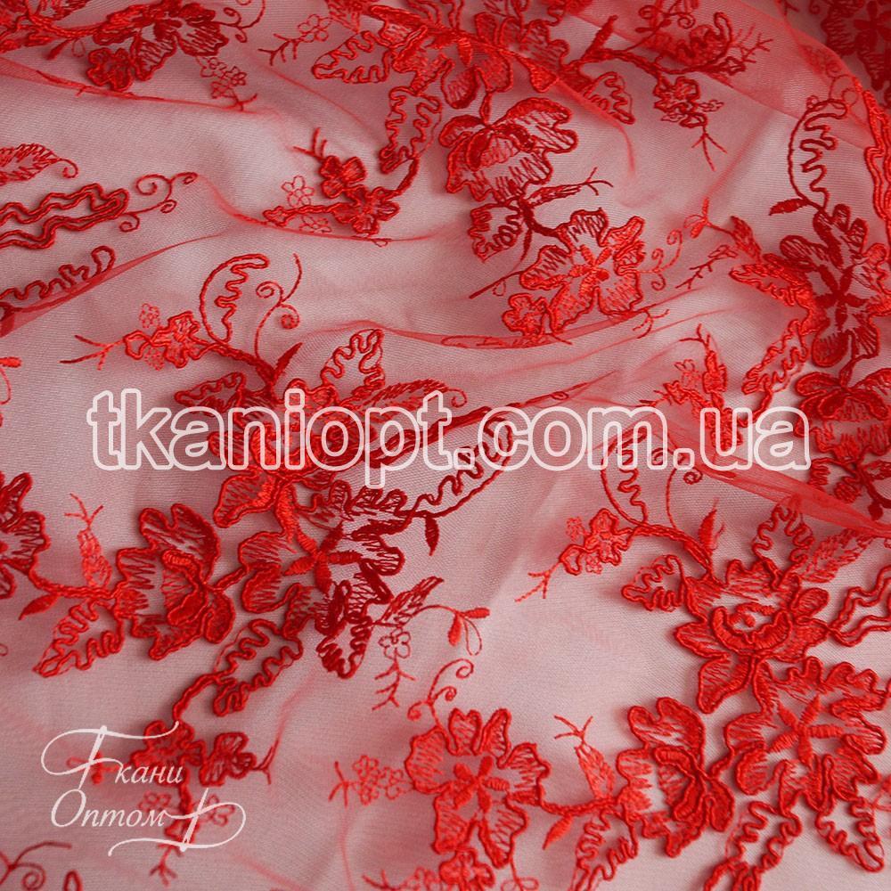 Ткань Гипюр франция (красный) представлен в магазине Ткани Оптом cdde872c9ba