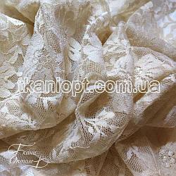 Ткань Гипюр мелкий цветок (молочный)