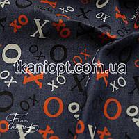 Ткань Джинсовая ткань буквы (рубашечная)