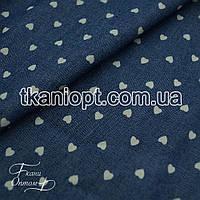 Ткань Джинсовая ткань сердечки (рубашечная)