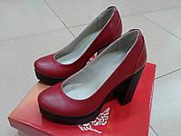 Красные кожаные туфли на высокой платформе  LEXI  Т 21739.