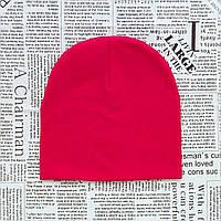 Демисезонная шапка детская 4-12 лет Ярко-розовая
