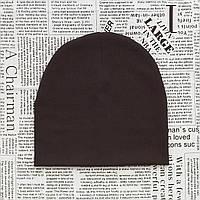 Демисезонная трикотажная шапка детская 4-12 лет Коричневый (07632)