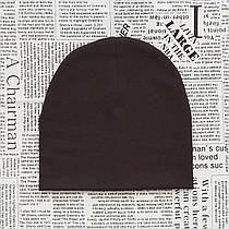 Демисезонная трикотажная шапка детская 4-12 лет Коричневый