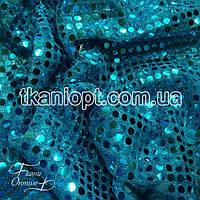 Ткань Копейка (бирюза на бирюзовом)