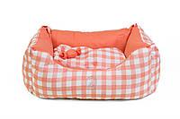 """Двухсторонний лежак для собак и кошек """"ТВИСТ"""" №2, коралловый, 52х35х25см"""