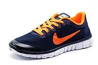 Кроссовки Найк Free Run 3.0 унисекс, темно-синие с оранжевым, р. 37
