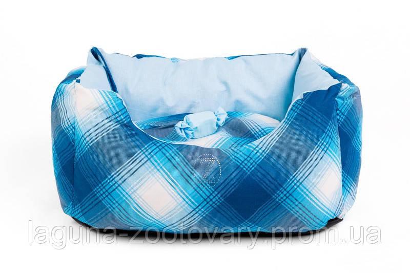 """Двухсторонний лежак для собак и кошек """"ТВИСТ"""" №1, синий, 45х25х23см"""