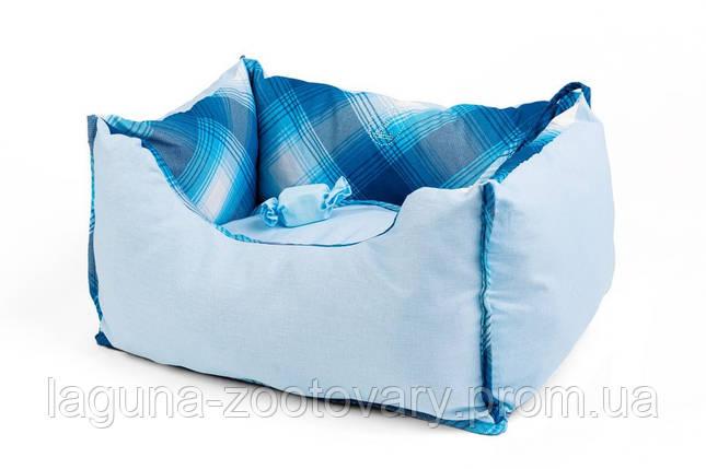 """Двухсторонний лежак для собак и кошек """"ТВИСТ"""" №1, синий, 45х25х23см, фото 2"""